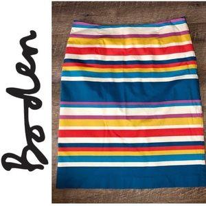 Boden Striped Pencil Skirt